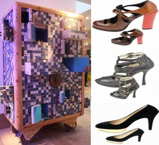 Selfridges bespoke shoe cabinet houses miniature shoes