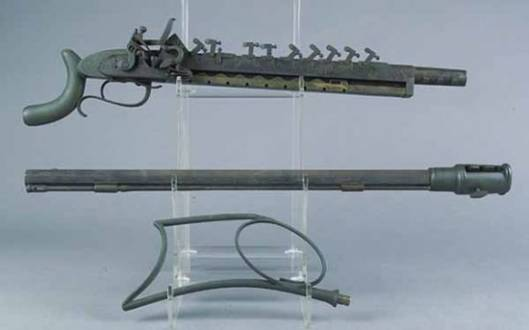 "Jennings 12 shot repeating flintlock rifle with serial number ""No. 1"" goes for sale"