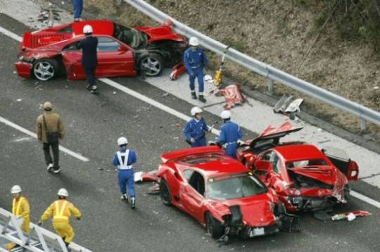 11 luxury sports cars wrecked in expensive pileup