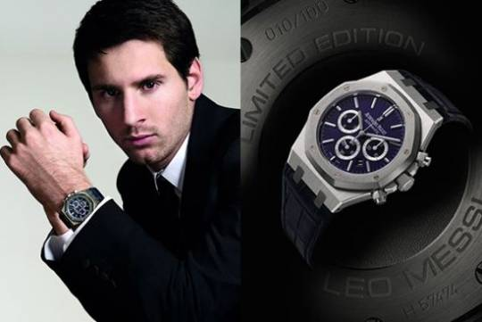 "Platinum case-back engraved with the inscriptions ""ROYAL OAK LIMITED EDITION"" and ""LEO MESSI"", numbered 10/100"