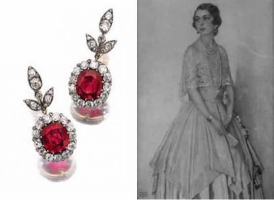 Earring of HSH Princess Max Egon zu Hohenlohe-Langenburg.