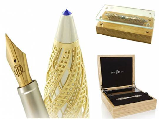 Jack Row yellow gold and sapphire pen packaging