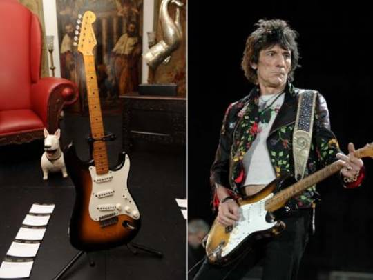 1955 Fender Stratocaster guitar often played on stage by Ron Wood