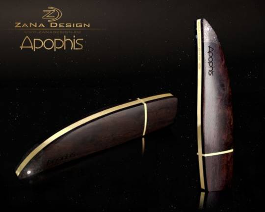 "ZaNa Design luxurious USB Flash Drive ""Apophis"" is crafted from meteorite, wood and gold"