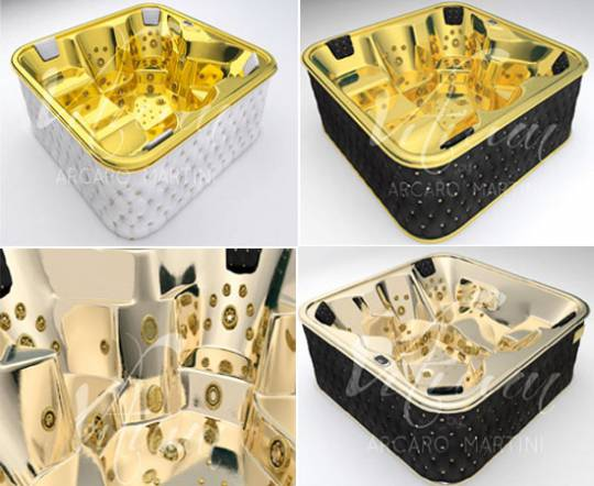 Arcaro Martini unveis world's first whirlpool bathtubs crafted in 24kt gold, leather and Swarovski