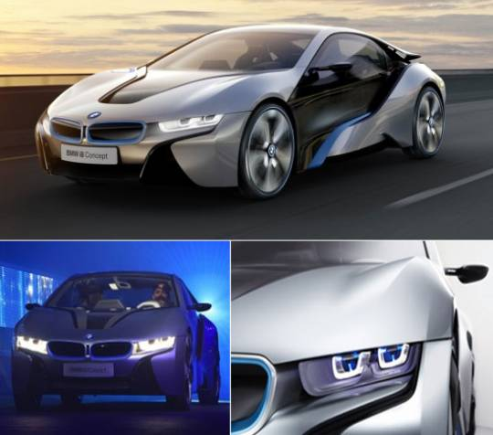BMW i8 car using laser LED headlights
