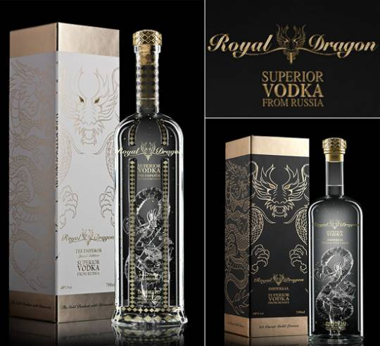 Royal Dragon Vodka bottles