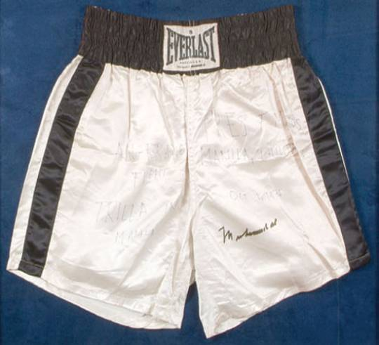Muhammad Ali worn boxing trunks from 'Thrilla in Manilla ' sells for $100,000