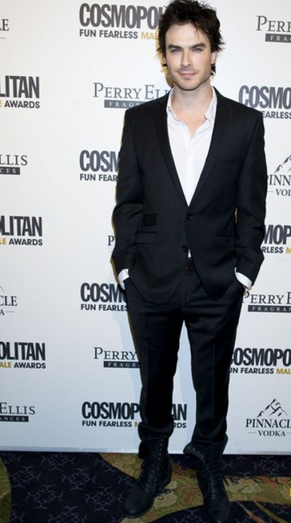 The actor was spotted donning these black boots on the red carpet of the Cosmopolitan Fearless Male Awards.