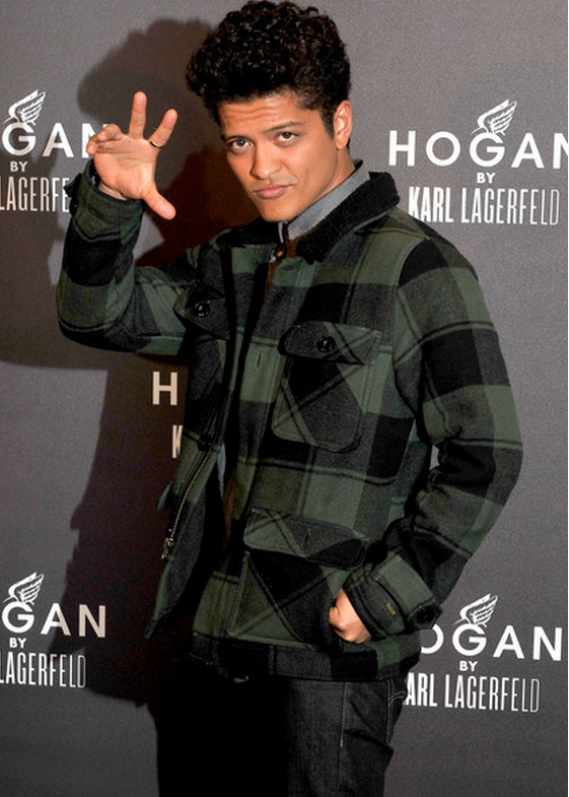 Vests and jackets are a part of Bruno Mars' staple style. Mars wore the Obey Burlington Jacket at a fashion event recently.