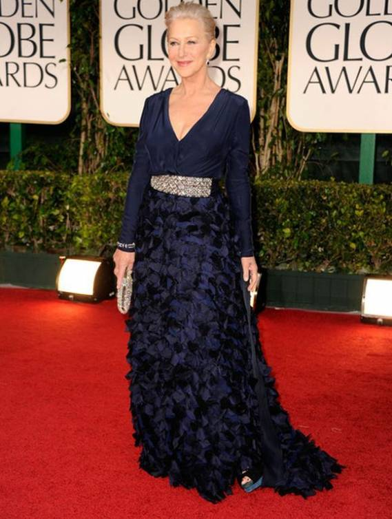 During the 69th annual Golden Globe awards, Ms.Mirren wore a blue semi-flowing dress with floral accents on the skirt.