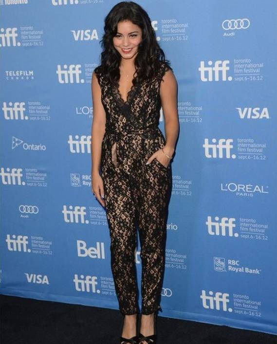 Vanessa Hudgens was spotted wearing the kitty lace jumpsuit from Alice by Temperley while attending the Toronto Film Festival 2012, Canada.