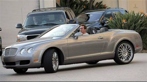 Arnold Schwarzenegger drives Bentley Continental GTC
