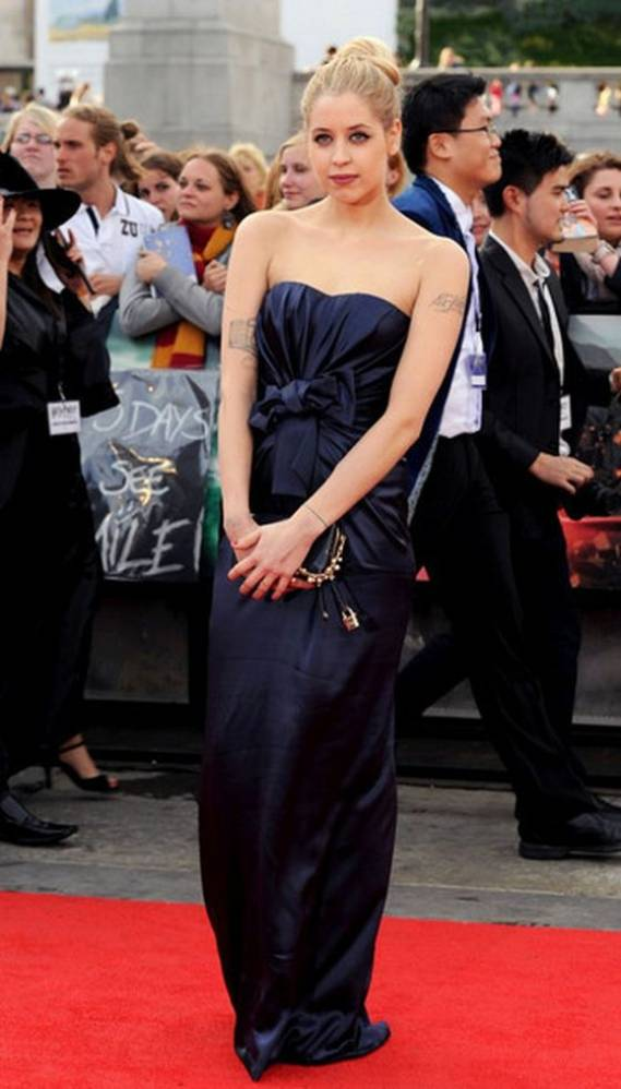 Peaches wears Dolce & Gabbana Strapless Bow-Front Gown