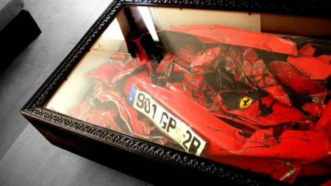 Crashed Ferrari Coffee Table is a controversial art piece