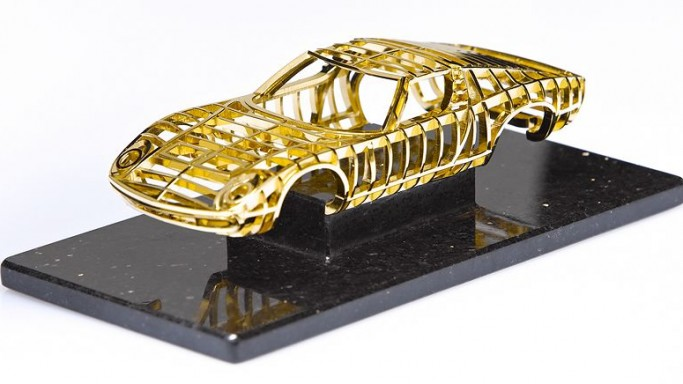 Golden Aston Martin Sculpture