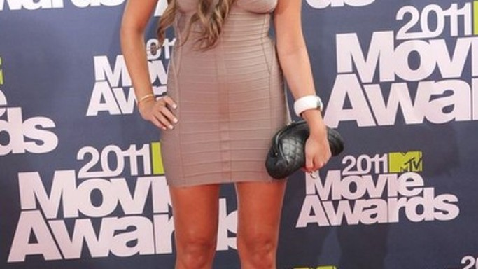 Bynes was snapped wearing the statement mini dress at the 2011 MTV Movie awards.
