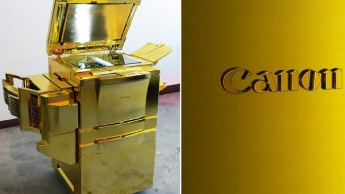 Gold plated copier machine by Yogi Proctor
