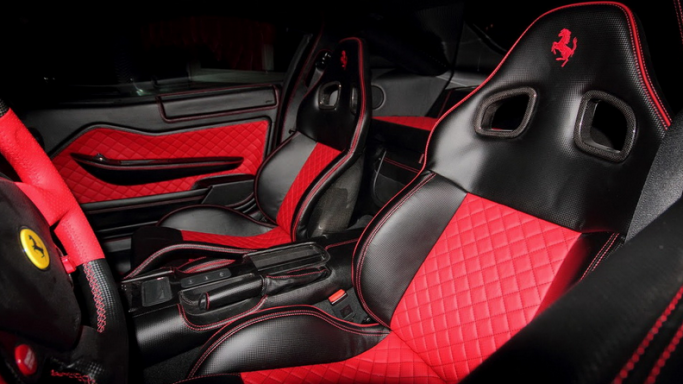 Black carbon leather interiors
