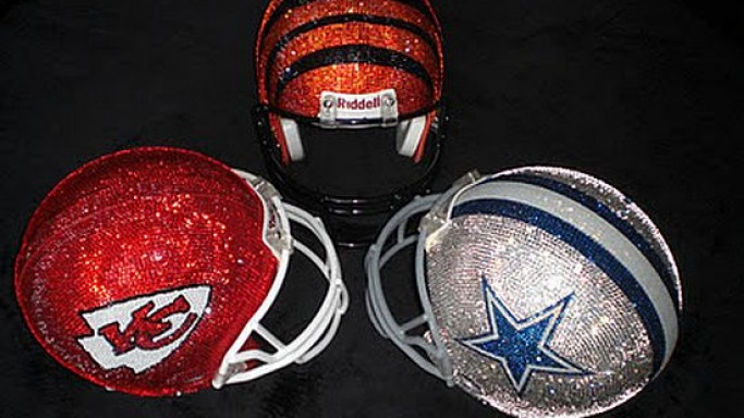 Swarovski crystal helmets for football fans just in time for Super Bowl