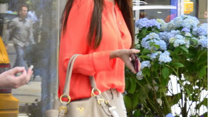 Sofia donned this designer American blouse while shopping.