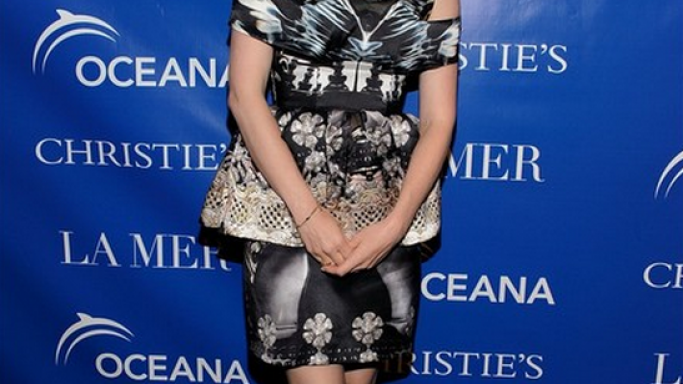 Mary Katrantzou Fall 2012 RTW Off the Shoulder Peplum Printed Dress