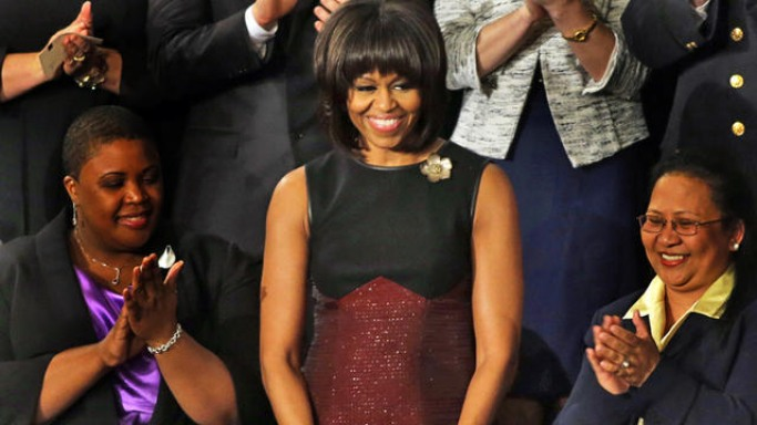 Michelle Obama donned the beautiful sleevless waist dress designed by American Designer