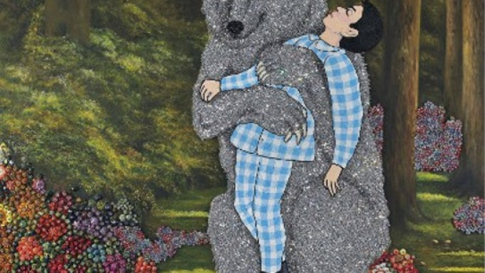 Giant Crystal-Covered Bear Painting 'Secret Garden' by Farhad Moshiri sells for $1 million