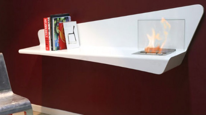 The Bio fireplace wall brings the books and fireplace together like never before
